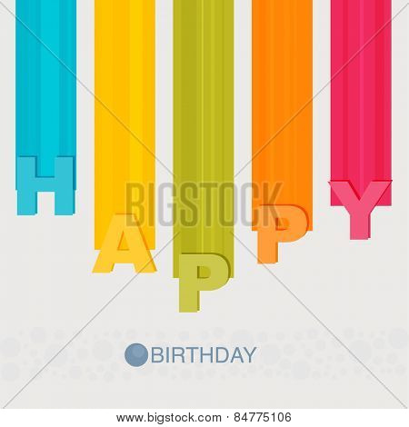 happy birthday flat with line and round