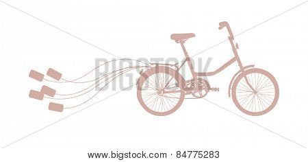 Vector illustration with retro wedding bicycle and cans