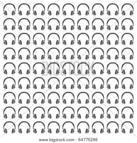 Headphones Seamless Pattern in Black & White Vector illustration