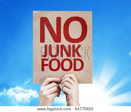 No Junk Food card with sky background