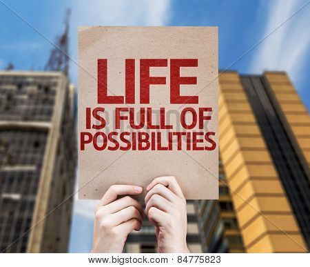 Life is Full Of Possibilities card with urban background
