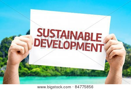 Sustainable Development card with beach background