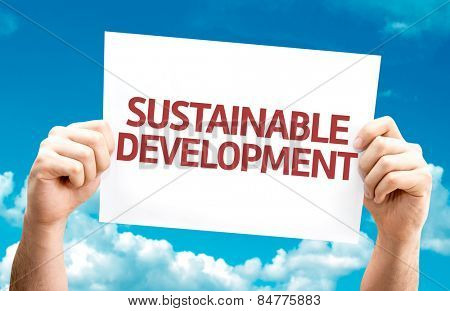 Sustainable Development card with sky background