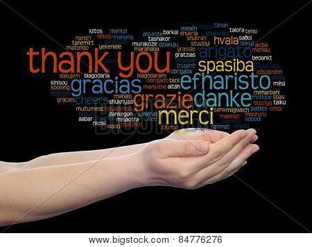 Concept or conceptual abstract thank you word cloud held in hands different language, multilingual as education or thanksgiving day, metaphor to appreciation, multicultural, friendship, tourism travel