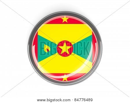 Round Button With Flag Of Grenada