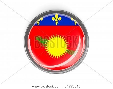 Round Button With Flag Of Guadeloupe