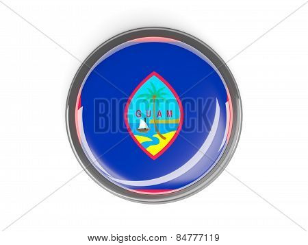 Round Button With Flag Of Guam