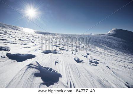 Snowy landscape in Pyrenees, Aragon, Spain.