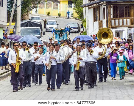 Brass Band Performs A Parade In Villabamba, Equador