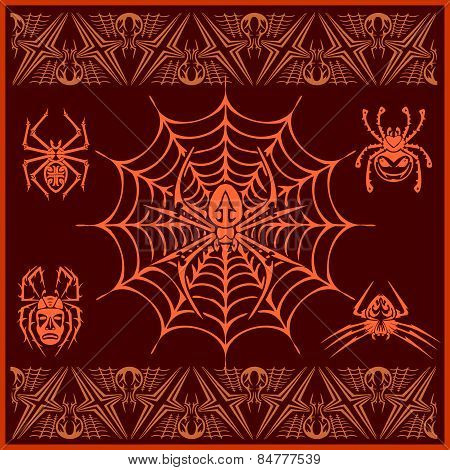 Spiders -  vector set. Designs and elements for pattern