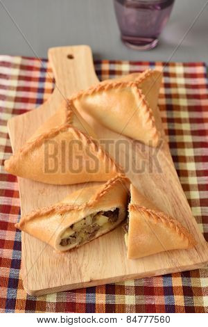 Three echpochmaks the traditional Tatar pastry with meat and potato