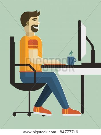 Self employed man in home office.
