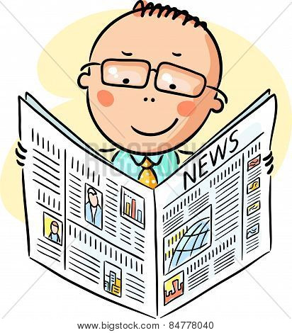 Man in glasses reading newspaper