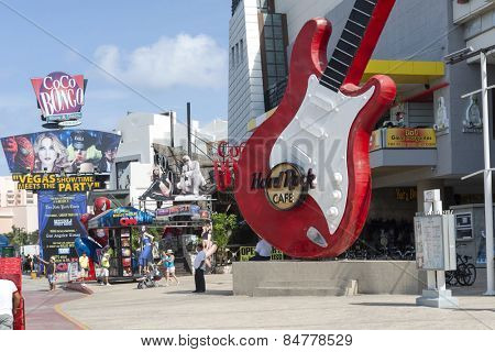 CANCUN - JANUARY 22: View of the Hard Rock Cafe on Main Street on 22 January 2015 in Cancun, Mexico. In this street is a lot of clubs and restaurants for tourists from all over the world..