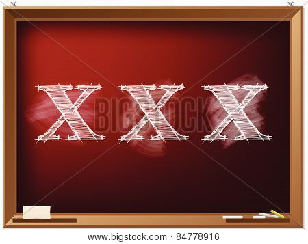 Xxx Text Drawn On Red Chalkboard