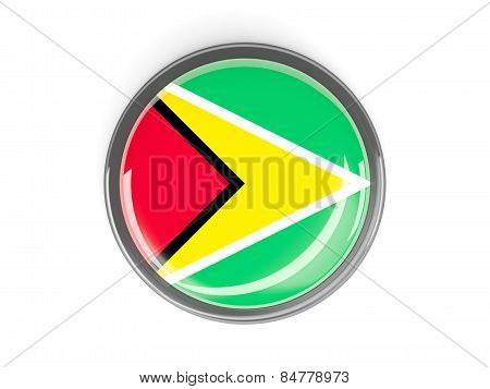 Round Button With Flag Of Guyana