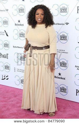 SANTA MONICA - FEB 21: Oprah Winfrey at the 2015 Film Independent Spirit Awards on February 21, 2015 in Santa Monica, California