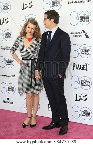SANTA MONICA - FEB 21: Joanna Newsom, Andy Samberg at the 2015 Film Independent Spirit Awards on February 21, 2015 in Santa Monica, California