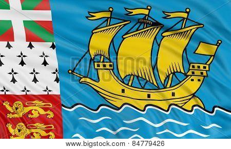 3D flag of Saint Pierre and Miquelon
