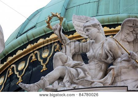 VIENNA, AUSTRIA - OCTOBER 10: Architectural decorations on Hofburg palace, Vienna; Austria. Hofburg was residence of Habsburg dynasty, rulers of Austro-Hungarian Empire. Vienna on October 10, 2014.