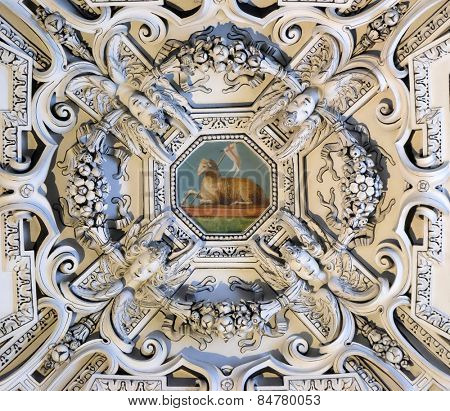 SALZBURG, AUSTRIA - DECEMBER 13: The Lamb of God, fragment of the dome of Salzburg Cathedral on December 13, 2014. Salzburg Cathedral is renowned for its harmonious Baroque architecture.