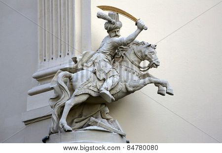 VIENNA, AUSTRIA - OCTOBER 10: Horseman, Architectural artistic decorations on facade of house in Vienna, Austria on October 10, 2014.