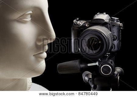 Shooting In Studio Plaster Head