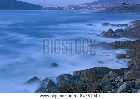 Long exposure at the coast of Baiona, Galicia, Spain
