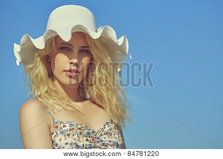 Beautiful Lady With Sun Hat