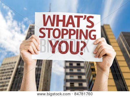 What's Stopping You? card with urban background