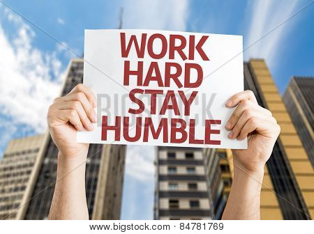 Work Hard Stay Humble card with urban background