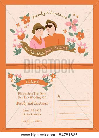 Wedding illustration Invitation/ Save The Date / Just Married Cards 2
