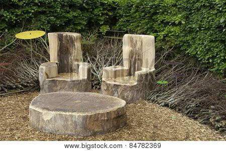 Table And Chairs In A Modern Garden