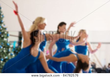 Dance class for women blur background