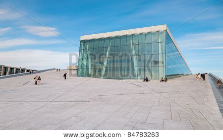 People walking on the roof of the Oslo Opera House. The Oslo Opera House is home The Norwegian Natio