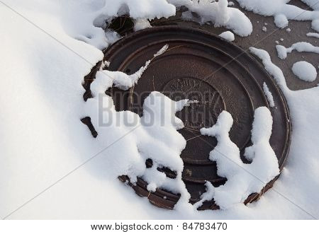 Manhole in the snow