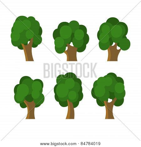 Set of Different Green Trees Icons. Vector