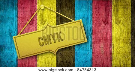 Cmyk Golden Plate On Wooden Door