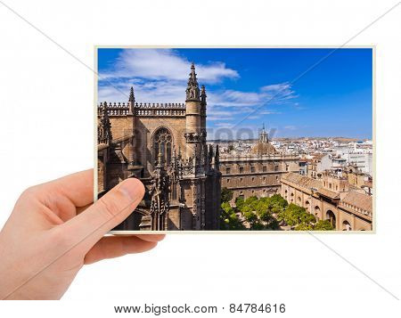 Sevilla Spain photography in hand (my photo) isolated on white background