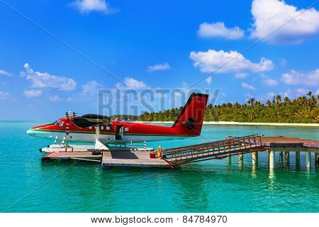 Seaplane at Maldives - nature travel background