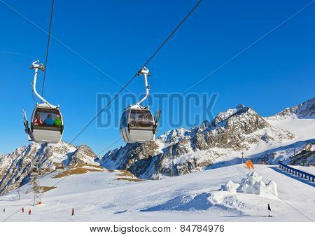 Snow fort in mountains ski resort Innsbruck Austria - nature and sport background