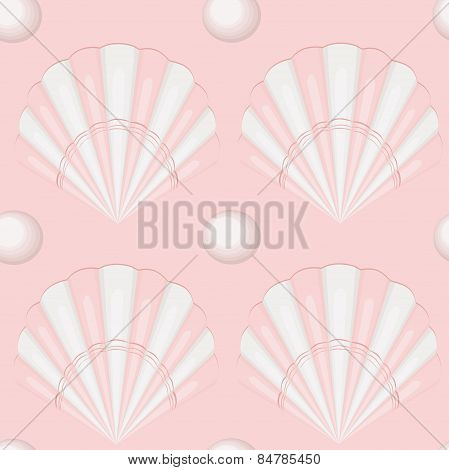 seamless pattern. seashells with pearls.