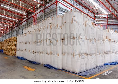 Warehouse With Stacked Big Sacks