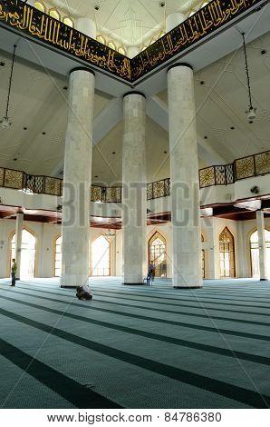 Interior of Al Azim Mosque in Malacca, Malaysia