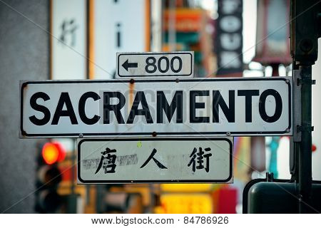 San Francisco, CA - MAY 11: Chinatown Street view on May 11, 2014 in San Francisco. It is the most densely settled large city in California and the second-most in US.