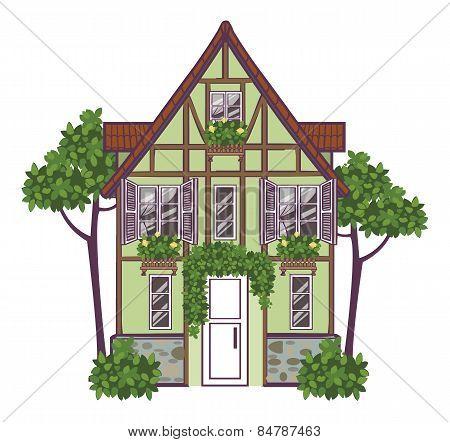 European City House. Vector Illustration