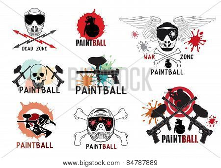 Set of  paintball logo, labels and designed elements.
