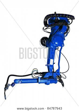 Blue Industrial machine part on white background