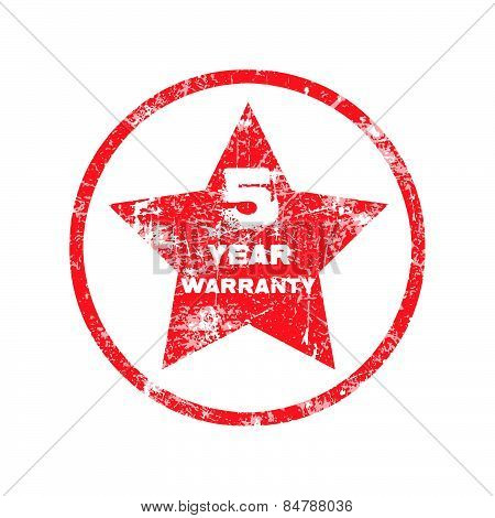 five year warranty red grungy stamp isolated on white background.