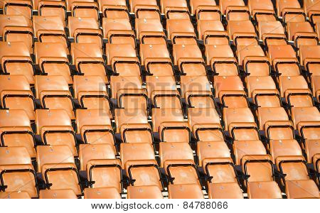 Orange Spectators seats at a stadium